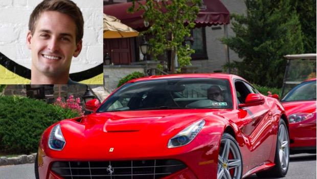 Snapchat Haziran 2015'te büyük bir kaynak edindikten sonra, Spiegel kendine bir Ferrari satın aldı.